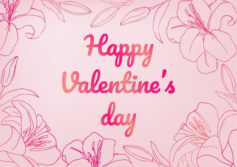 Ημέρα του ευτυχούς βαλεντίνου! Πρότυπο ευχετήριων καρτών ημέρας βαλεντίνου διάνυσμα Ανοικτό ροζ υπόβαθρο με τα σκοτεινά ρόδινα στ ελεύθερη απεικόνιση δικαιώματος