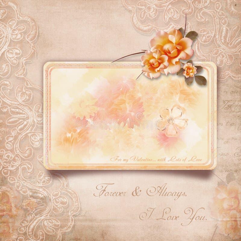 Ημέρα του ευτυχούς βαλεντίνου. Εκλεκτής ποιότητας κάρτα με τα τριαντάφυλλα ελεύθερη απεικόνιση δικαιώματος