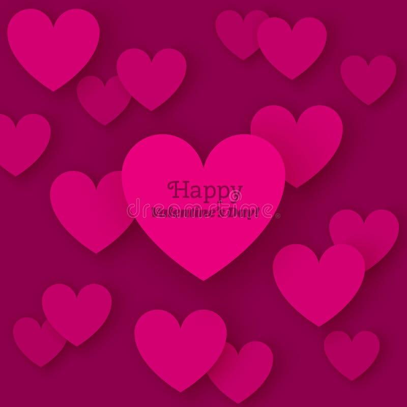 Ημέρα του ευτυχούς βαλεντίνου ευχετήριων καρτών με τις επίπεδες καρδιές απεικόνιση αποθεμάτων