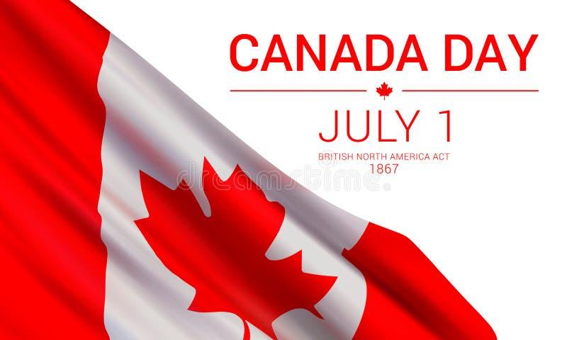 Ημέρα του Καναδά, την 1η Ιουλίου, διανυσματικό πρότυπο σχεδίου εμβλημάτων με τη σημαία του Καναδά ελεύθερη απεικόνιση δικαιώματος
