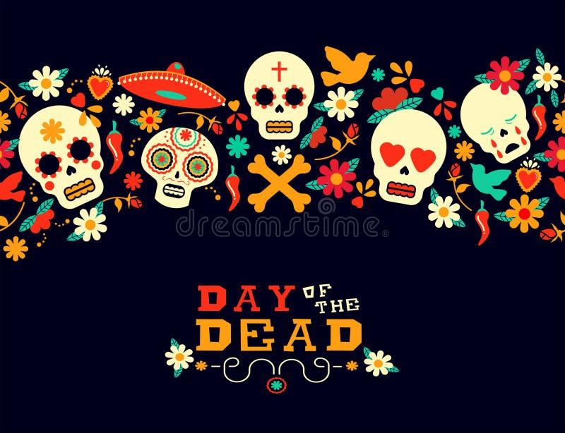 Ημέρα του νεκρού υποβάθρου κρανίων ζάχαρης λουλουδιών διανυσματική απεικόνιση