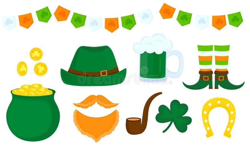 Ημέρα του ST Πάτρικ ` s Πράσινο καπέλο, δοχείο της χρυσής, κόκκινης γενειάδας leprechaun, τριφύλλι, κούπα μπύρας, πέταλο διανυσματική απεικόνιση