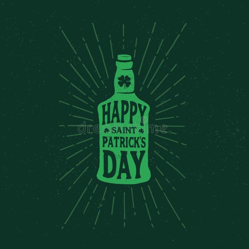 Ημέρα του ST Πάτρικ ` s Το αναδρομικό ύφος συμβολίζει το μπουκάλι της μπύρας τυπογραφία διανυσματική απεικόνιση
