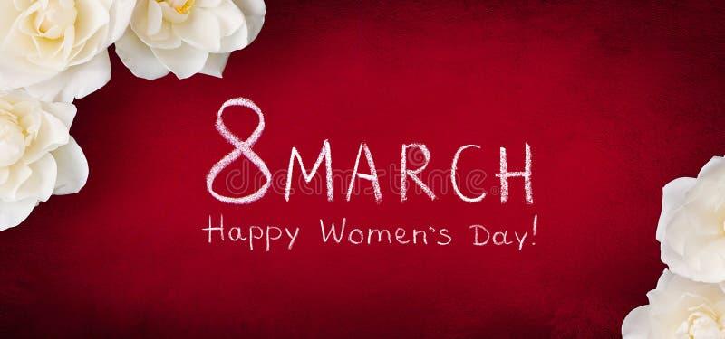 Ημέρα των ευρειών γωνίας ευχετήριων καρτών γυναικών στις 8 Μαρτίου ευτυχών ελεύθερη απεικόνιση δικαιώματος