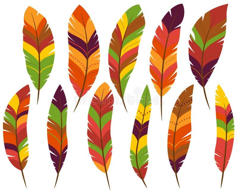 Ημέρα των ευχαριστιών ή χρωματισμένα πτώση φτερά απεικόνιση αποθεμάτων