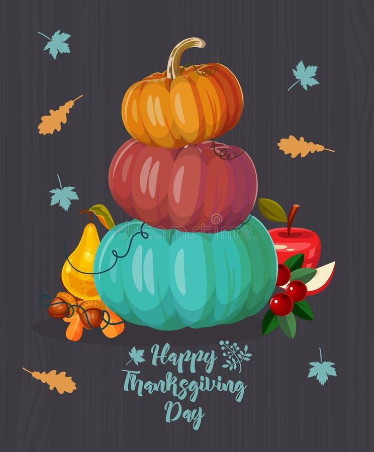 Ημέρα των ευχαριστιών Διανυσματική ευχετήρια κάρτα με τα φρούτα, τα λαχανικά, τις κολοκύθες, τα φύλλα και τα λουλούδια φθινοπώρου διανυσματική απεικόνιση