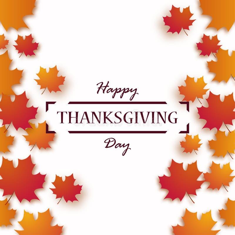 Ημέρα των ευχαριστιών Ευτυχές σχέδιο διακοπών ημέρας των ευχαριστιών με τα φωτεινά φύλλα φθινοπώρου και το κείμενο χαιρετισμού διανυσματική απεικόνιση