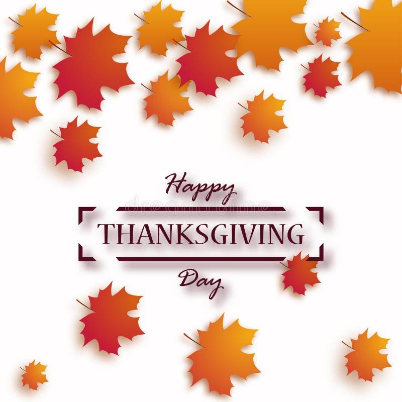 Ημέρα των ευχαριστιών Ευτυχές σχέδιο διακοπών ημέρας των ευχαριστιών με τα φωτεινά φύλλα φθινοπώρου και το κείμενο χαιρετισμού ελεύθερη απεικόνιση δικαιώματος