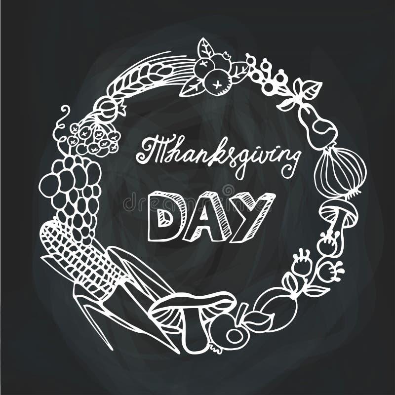 Ημέρα των ευχαριστιών Συγκομιδή Γραμμικό στεφάνι chalkboard απεικόνιση αποθεμάτων