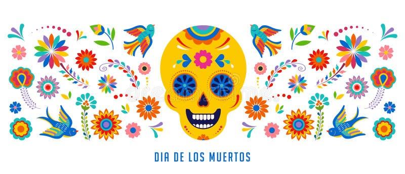 Ημέρα των νεκρών, του υποβάθρου Dia de Los muertos, του εμβλήματος και της έννοιας ευχετήριων καρτών με το κρανίο ζάχαρης απεικόνιση αποθεμάτων
