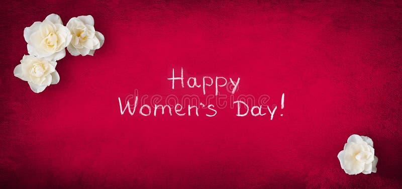 Ημέρα των πανοραμικών ευχετήριων καρτών γυναικών στις 8 Μαρτίου ευτυχών ελεύθερη απεικόνιση δικαιώματος