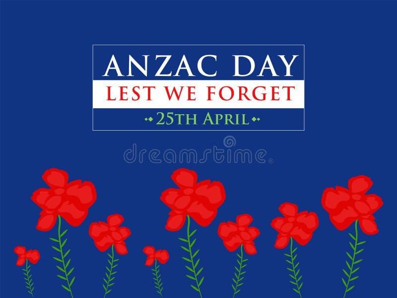 Ημέρα Anzac για να μην ξεχνάμε στην μπλε διανυσματική απεικόνιση υποβάθρου διανυσματική απεικόνιση
