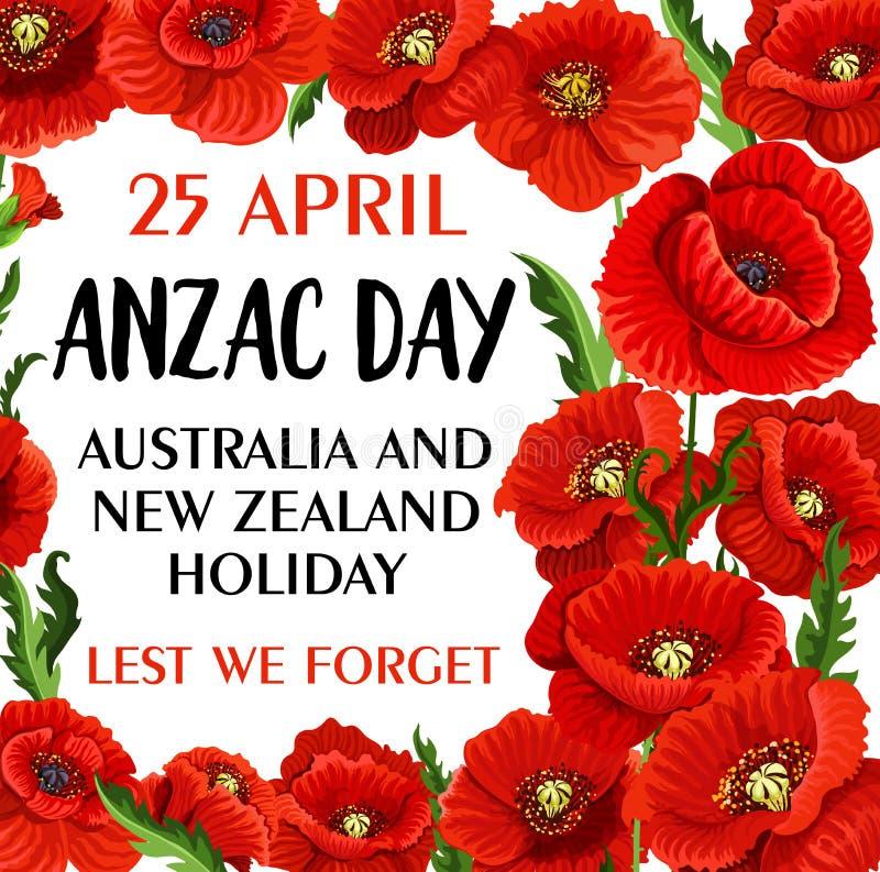 Ημέρα Anzac για να μην ξεχνάμε τη διανυσματική κάρτα μνήμης παπαρουνών ελεύθερη απεικόνιση δικαιώματος