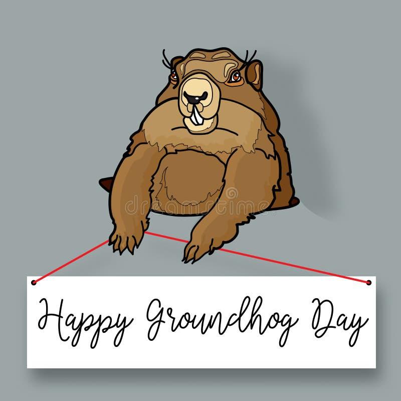 Ημέρα Groundhog Διανυσματική στρογγυλή ετικέτα ελεύθερη απεικόνιση δικαιώματος