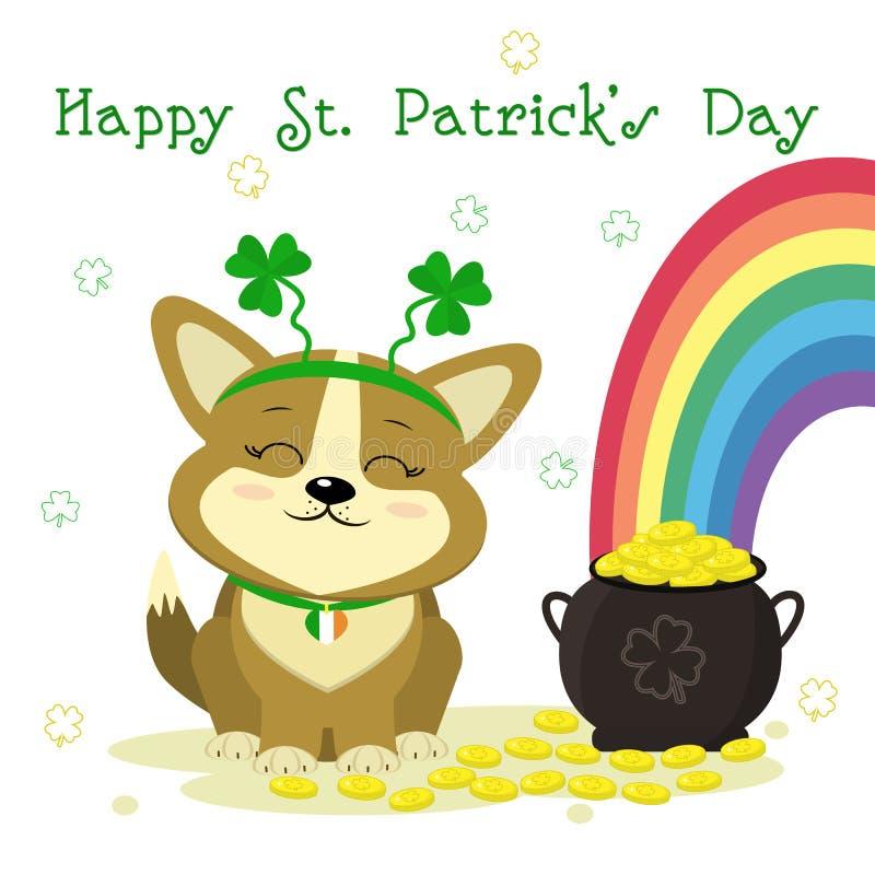 Ημέρα StPatrick s Χαριτωμένο bezel corgi σκυλιών με το τριφύλλι, σφαιριστής με τα χρυσά νομίσματα, ουράνιο τόξο, τριφύλλι Ύφος κι ελεύθερη απεικόνιση δικαιώματος