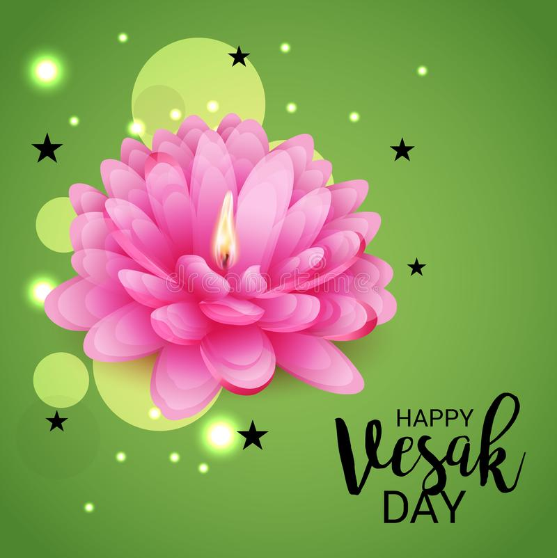 Ημέρα Vesak με το ρόδινο λουλούδι Lotus ελεύθερη απεικόνιση δικαιώματος