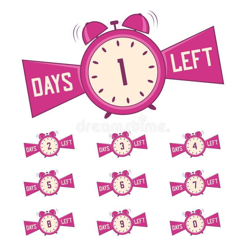 Ημέρες αριθμού που αφήνονται Σύνολο εμβλημάτων ημερών αντίστροφης μέτρησης για την προώθηση, πώληση r ελεύθερη απεικόνιση δικαιώματος