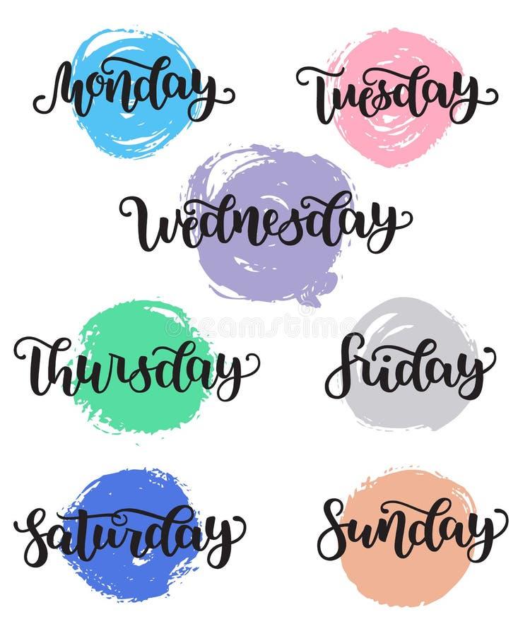Ημέρες εγγραφής της Κυριακής εβδομάδας, Δευτέρα, Τρίτη, Τετάρτη, Πέμπτη, Παρασκευή, Σάββατο Σύγχρονη καλλιγραφία που απομονώνεται διανυσματική απεικόνιση