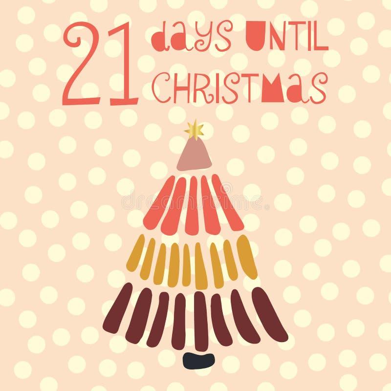 21 ημέρες μέχρι τη διανυσματική απεικόνιση Χριστουγέννων christmas countdown απεικόνιση αποθεμάτων