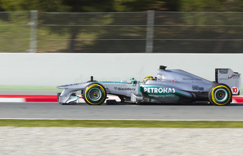 Ημέρες δοκιμής ομάδων Formula 1 στο κύκλωμα Catalunya στοκ φωτογραφία με δικαίωμα ελεύθερης χρήσης