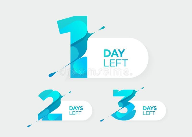 1, 2, 3 ημέρες που αφήνονται Διανυσματικοί φουτουριστικοί αριθμοί Φραγμός χρονομέτρων αντίστροφης μέτρησης πώλησης Διακριτικό ημε ελεύθερη απεικόνιση δικαιώματος
