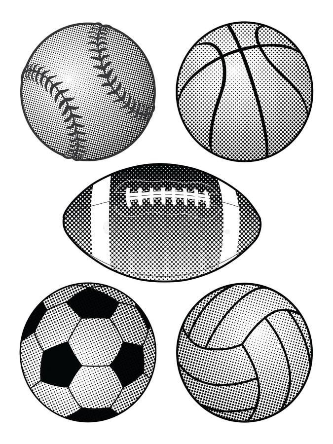 Ημίτοές αθλητικές σφαίρες ελεύθερη απεικόνιση δικαιώματος