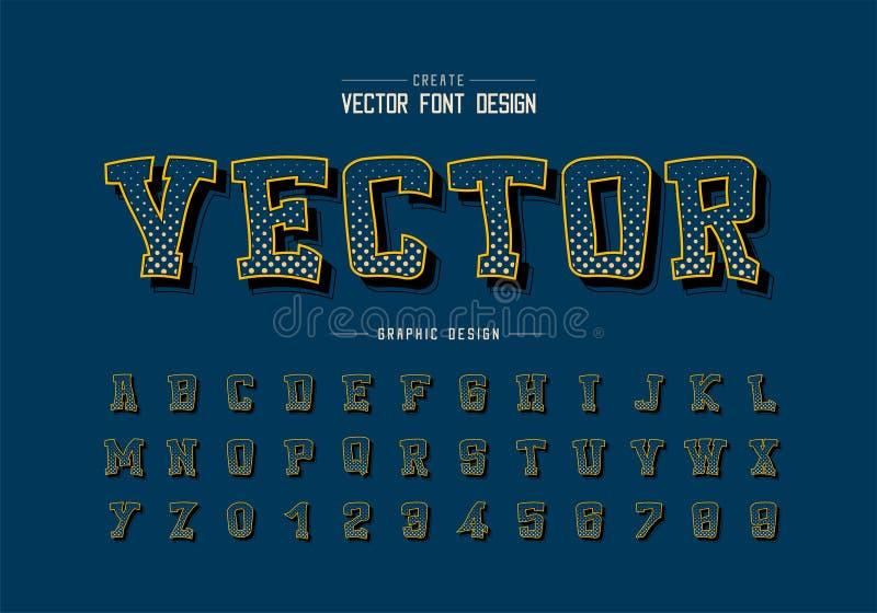 Ημίτοή πηγή κύκλων και διανυσματικός, ψηφιακός χαρακτήρας αλφάβητου κινούμενων σχεδίων και σχέδιο αριθμού, γραφικό υπόβαθρο κειμέ ελεύθερη απεικόνιση δικαιώματος