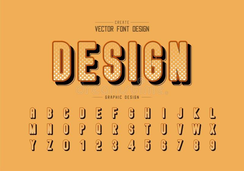 Ημίτοή πηγή κύκλων και στρογγυλός χαρακτήρας επιστολών αλφάβητου διανυσματικός, ψηφιακός και σχέδιο αριθμού ελεύθερη απεικόνιση δικαιώματος