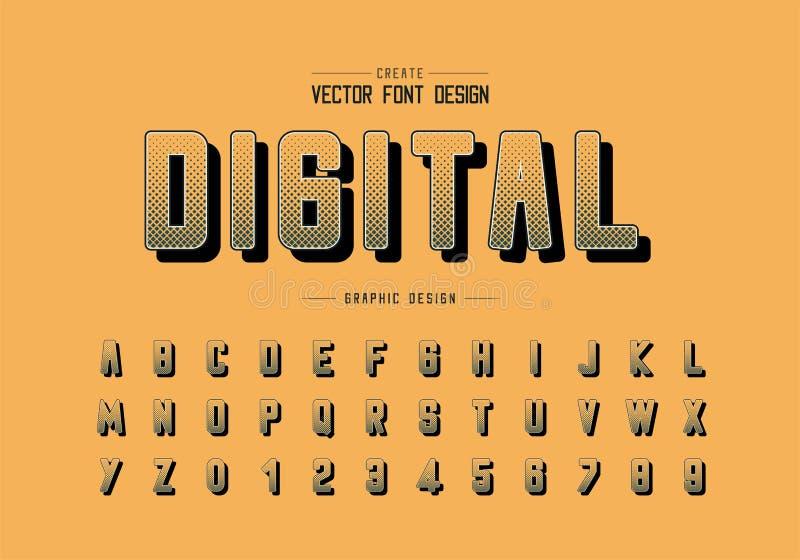 Ημίτοή τετραγωνική πηγή και στρογγυλός διανυσματικός, ψηφιακός χαρακτήρας αλφάβητου και σχέδιο αριθμού επιστολών διανυσματική απεικόνιση