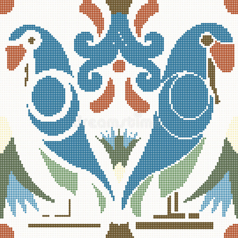 Ημίτονος ζωηρόχρωμος άνευ ραφής αναδρομικός παπαγάλος πουλιών σχεδίων ζωικός απεικόνιση αποθεμάτων
