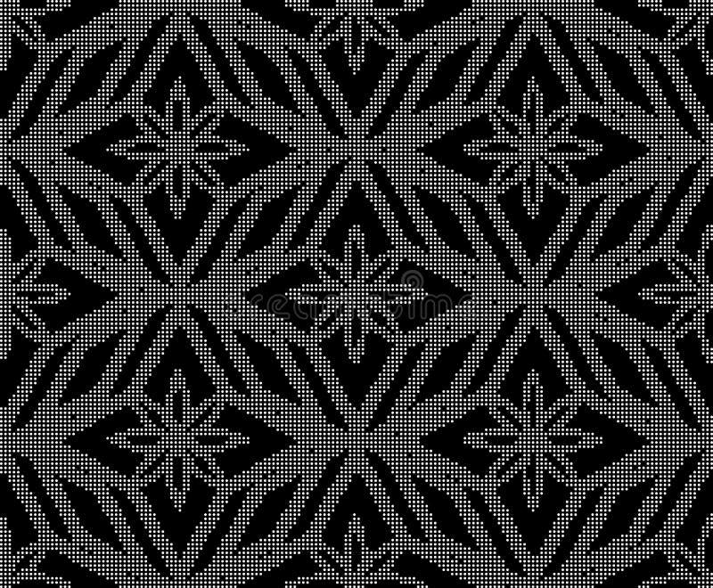 Ημίτονος στρογγυλός μαύρος άνευ ραφής έλεγχος γ διαμαντιών οκταγώνων υποβάθρου διανυσματική απεικόνιση