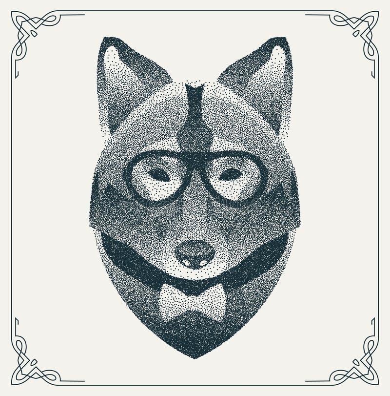 Ημίτονος λύκος hipster με τα μαύρα σημεία διάνυσμα διανυσματική απεικόνιση