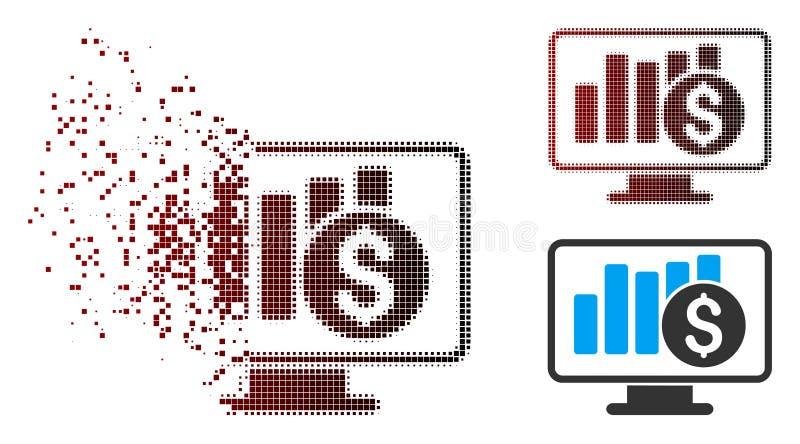 Ημίτονο εικονίδιο ελέγχου χρηματιστηρίου εικονοκυττάρου σκόνης απεικόνιση αποθεμάτων
