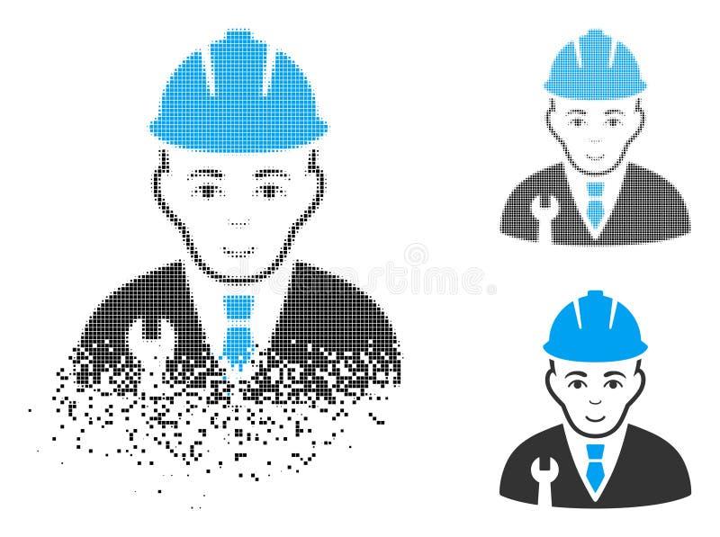 Ημίτονο εικονίδιο υπεύθυνων για την ανάπτυξη εικονοκυττάρου Destructed με το πρόσωπο διανυσματική απεικόνιση