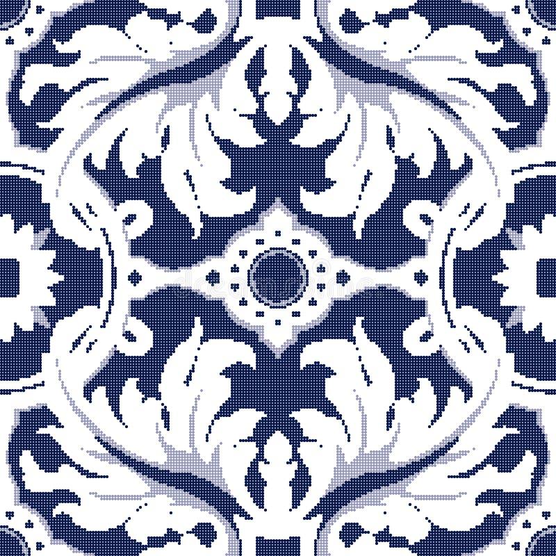 Ημίτονο ζωηρόχρωμο άνευ ραφής αναδρομικό εκλεκτής ποιότητας μπλε σπειροειδές λιβάδι σχεδίων απεικόνιση αποθεμάτων