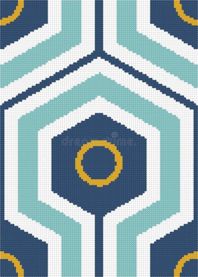 Ημίτονο ζωηρόχρωμο άνευ ραφής αναδρομικό διαγώνιο hexagon στρογγυλό geo σχεδίων ελεύθερη απεικόνιση δικαιώματος