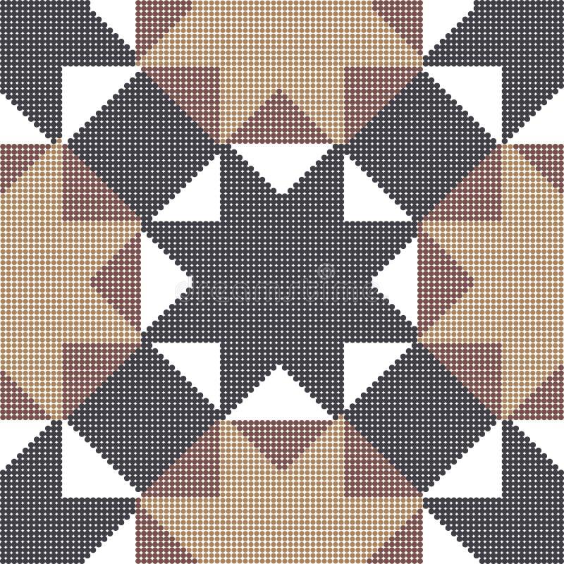 Ημίτονο ζωηρόχρωμο άνευ ραφής αναδρομικό διαγώνιο tria αστεριών οκταγώνων σχεδίων ελεύθερη απεικόνιση δικαιώματος