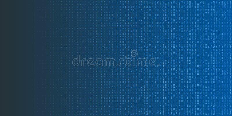 Ημίτονο υπόβαθρο δυαδικού κώδικα Μηά και ένα αφηρημένα σύμβολα Απεικόνιση έννοιας προγραμματισμού κωδικοποίησης διανυσματική απεικόνιση