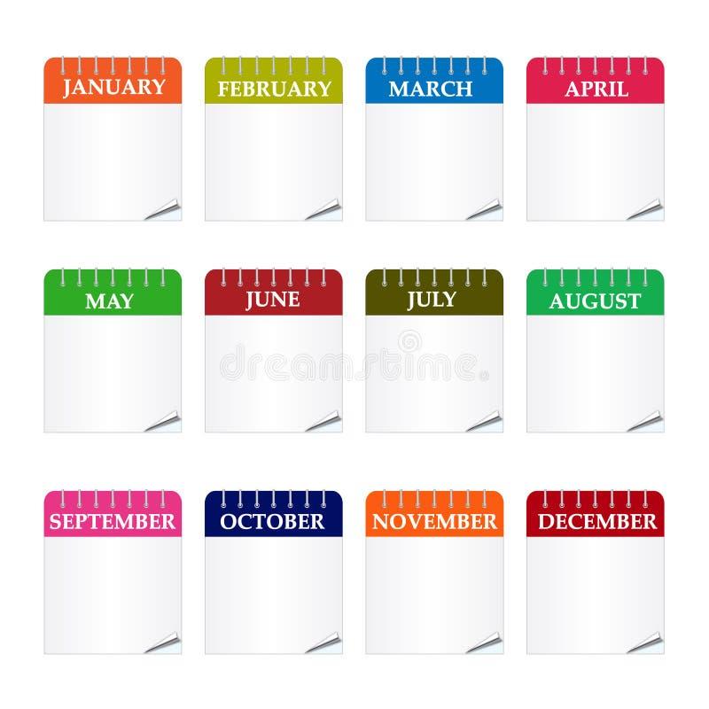 ημερολογιακά εικονίδι&al απεικόνιση αποθεμάτων
