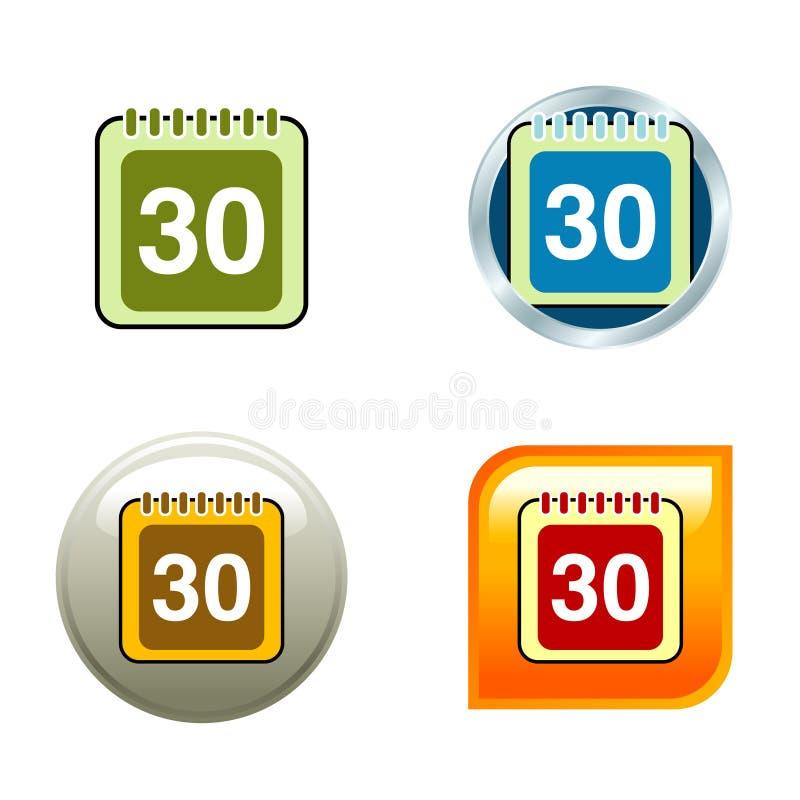 ημερολογιακά εικονίδι&al διανυσματική απεικόνιση