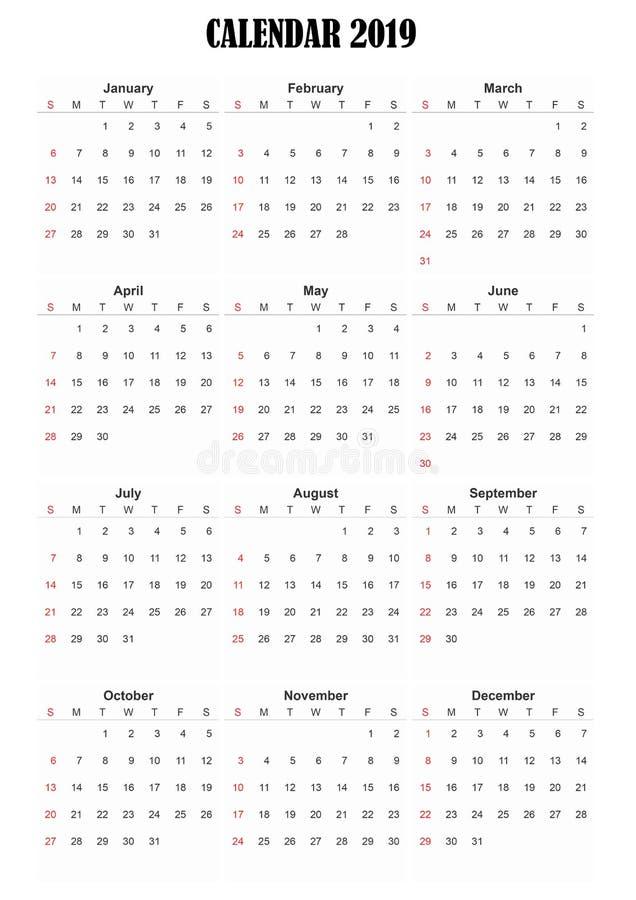 ημερολογιακή αγγλική γλώσσα του 2019 στοκ φωτογραφίες