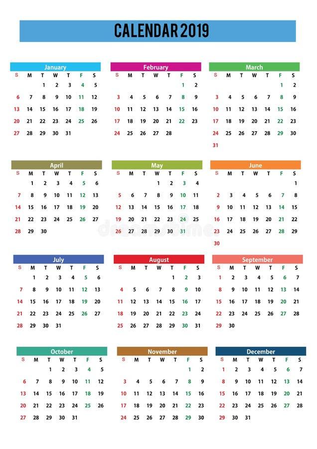 ημερολογιακή αγγλική γλώσσα του 2019 στοκ εικόνα με δικαίωμα ελεύθερης χρήσης