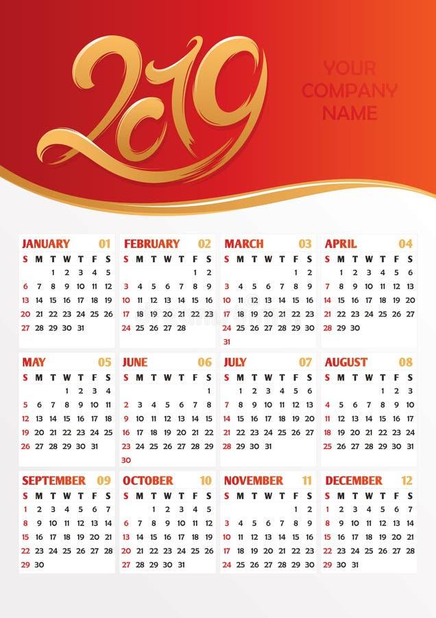 ημερολογιακή διανυσματική απεικόνιση γραφείων του 2019 απεικόνιση αποθεμάτων