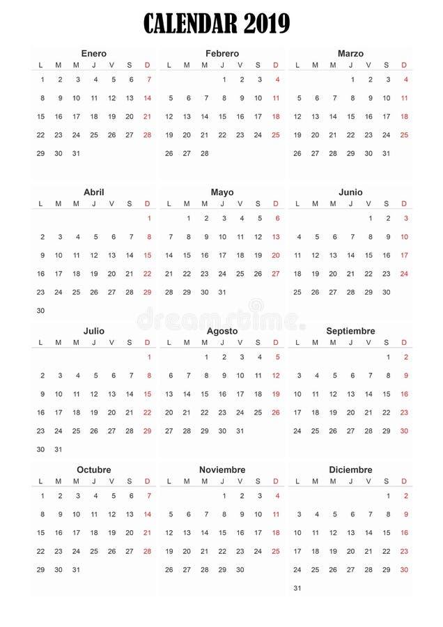 ημερολογιακή ισπανική γλώσσα του 2019 στοκ εικόνες