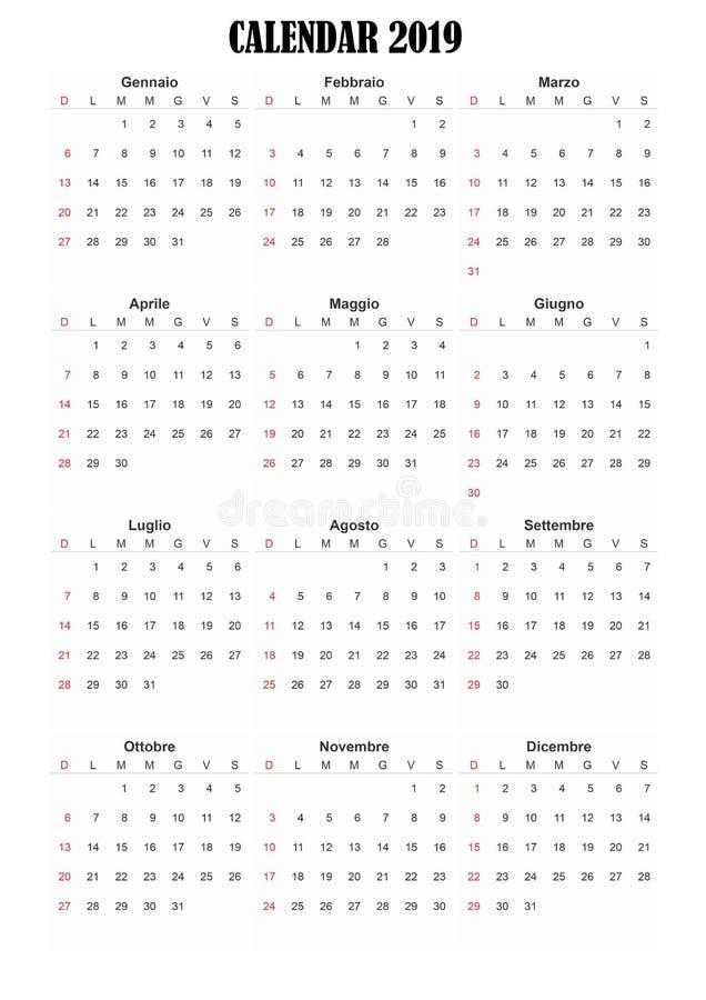 ημερολογιακή ιταλική γλώσσα του 2019 στοκ φωτογραφίες με δικαίωμα ελεύθερης χρήσης