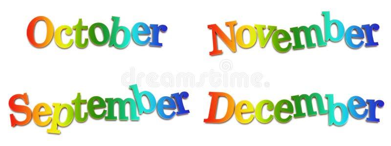 ημερολογιακοί μήνες διανυσματική απεικόνιση