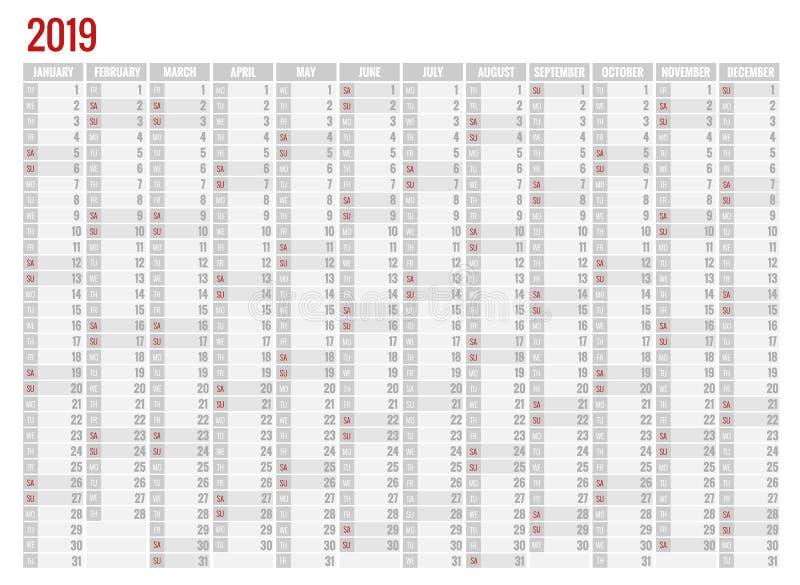Ημερολογιακός αρμόδιος για το σχεδιασμό για το έτος του 2019 Διανυσματικό πρότυπο τυπωμένων υλών σχεδίου χαρτικών με τη θέση για  ελεύθερη απεικόνιση δικαιώματος