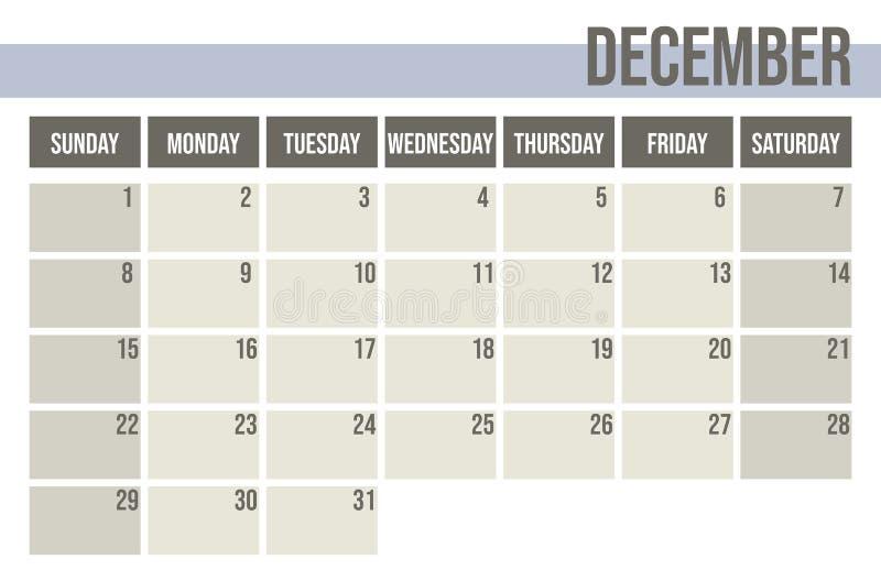 Ημερολογιακός αρμόδιος για το σχεδιασμό 2019 Μηνιαίος αρμόδιος για το σχεδιασμό Δεκέμβριος διανυσματική απεικόνιση