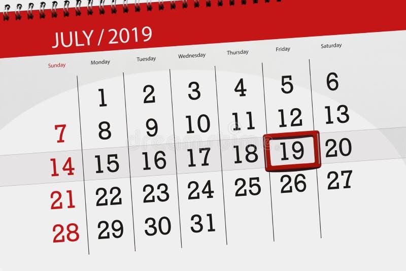 Ημερολογιακός αρμόδιος για το σχεδιασμό για τον Ιούλιο του 2019 μήνα, ημέρα προθεσμίας, Παρασκευή 19 στοκ φωτογραφία με δικαίωμα ελεύθερης χρήσης
