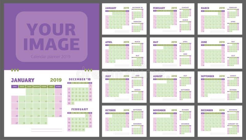 ημερολογιακός αρμόδιος για το σχεδιασμό του 2019 Ημερολογιακό πρότυπο πορφύρας και χρώματος ελιών διανυσματική απεικόνιση
